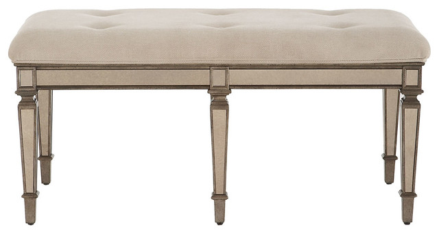 Denison Mirrored Bench Traditional Upholstered Benches Dallas By Horchow