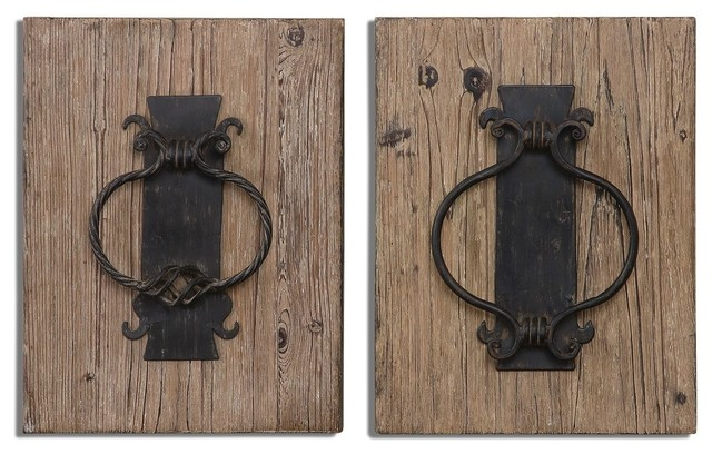 Rustic Arch Wall Decor : Rustic architectural wall art wood iron distressed panels