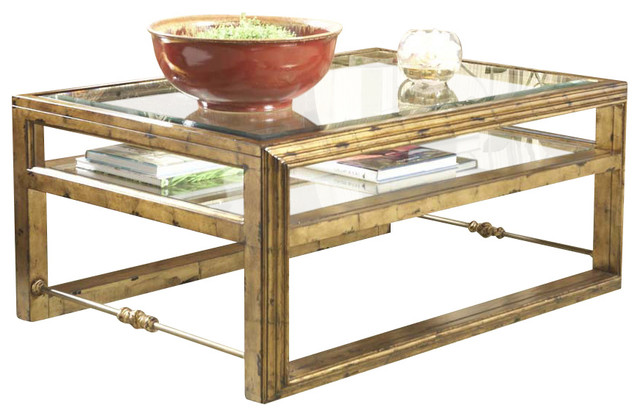 Antebellum rectangular glass top cocktail table for Traditional glass top coffee table
