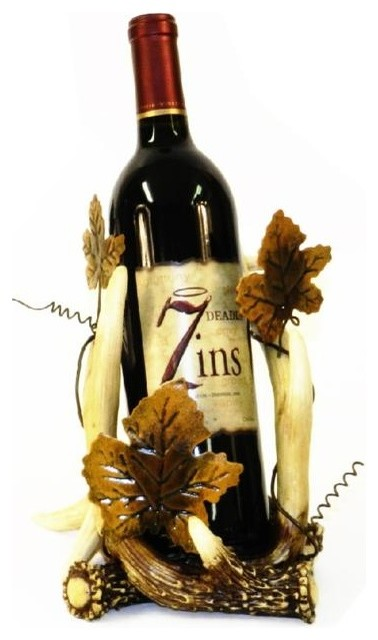 8 inch brown white antler and grapevine design wine bottle for Arts and crafts wine rack