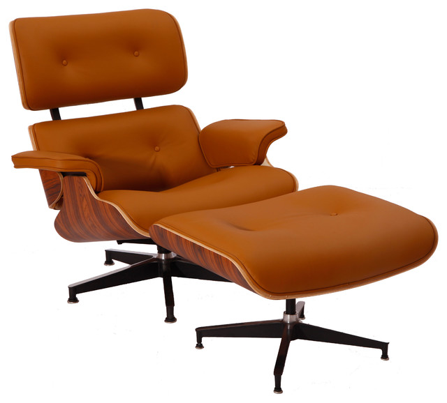 Midcentury lounge chair and ottoman reproduction aniline for Brown chaise lounge indoor