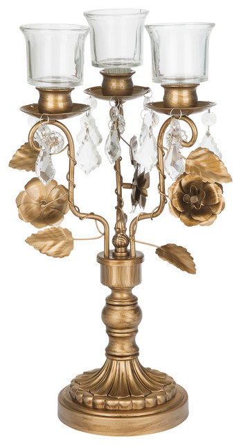 Madeline Collection Crystal Draped 3 Light Gold Candelabra
