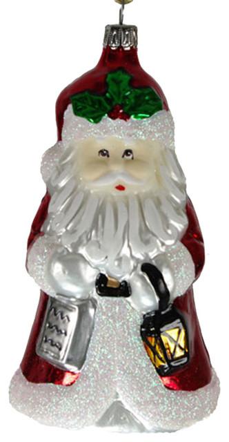 Traditional Glass Christmas Tree Ornaments : Glass santa with bell and book christmas tree ornament