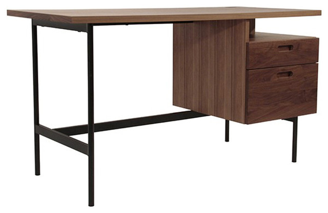bureau design en bois ch ne ou noyer 130 160 cm contemporain meuble bureau et. Black Bedroom Furniture Sets. Home Design Ideas