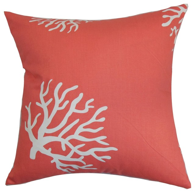 Jessamine Coral Pattern Pillow, Coral and White - Beach Style - Decorative Pillows - by The ...