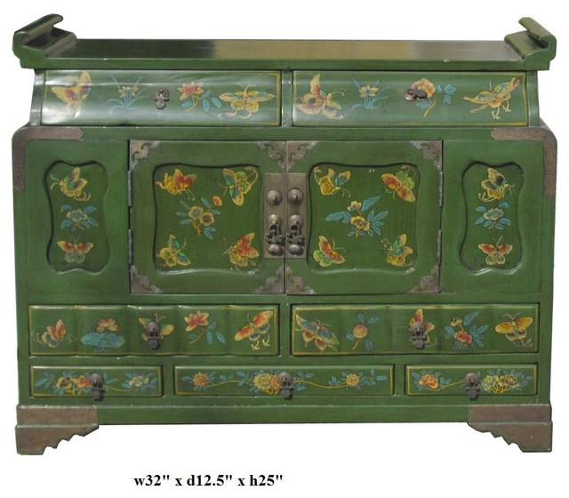 Chinese Green Lacquer Butterflies Altar Chest Table