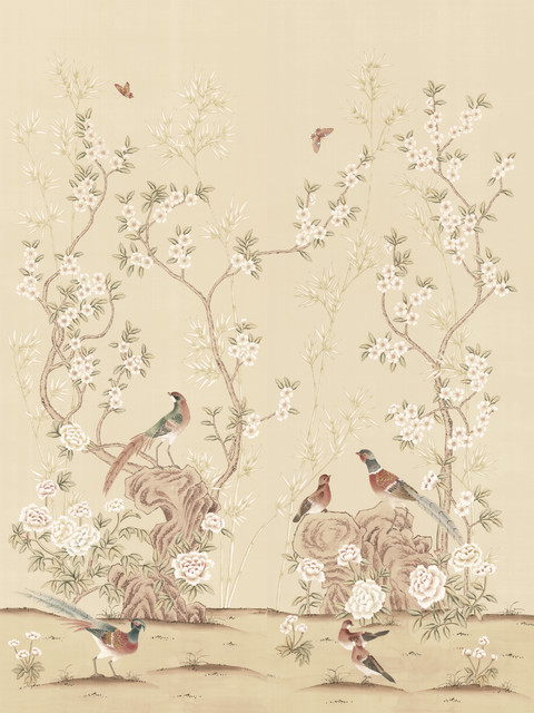Chinoiserie wall mural rafah asian wallpaper by for Chinese mural wallpaper