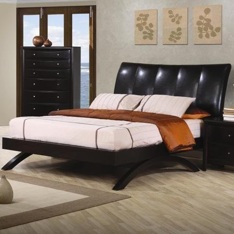 Phoenix Queen Bedroom Set 4 Piece Cappuccino Maple Hardwood Modern Bedroo