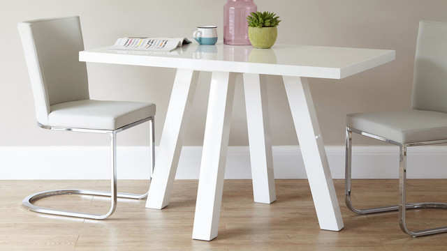 Cross 4 seater white gloss dining table contemporary for Danetti dining table