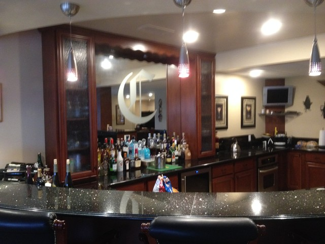 custom basement bar and kitchen