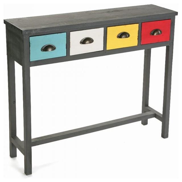 Vancouver console bois 4 tiroirs color s contemporary - Table console bois ...