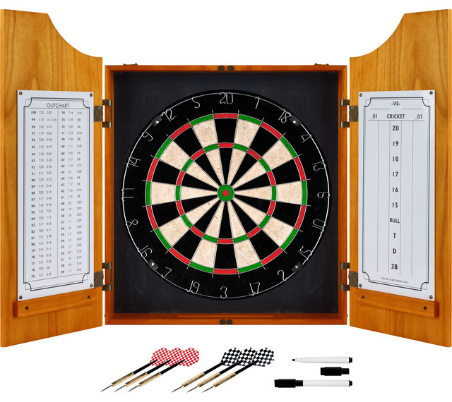 Solid Wood Dart Cabinet Set - Traditional - Darts And Dartboards - by Trademark Global