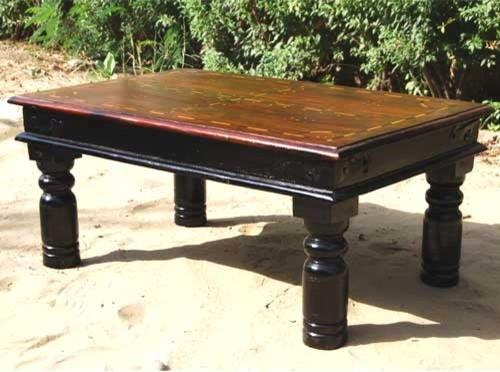 Rustic Inlaid Wood Sofa Cocktail Coffee Table