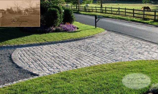Cobble Stone Driveway In New York Traditional