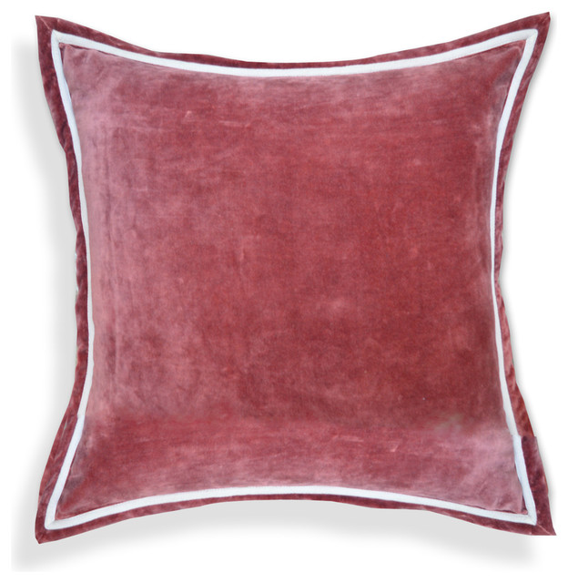 Throw Pillows Velvet : Solid Velvet Designer 20-inch White Piping Throw Pillows, Chocolate Brown - Contemporary ...