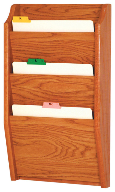 3 Pocket Letter Size File Holder, Medium Oak - Filing Cabinets - by Wooden Mallet
