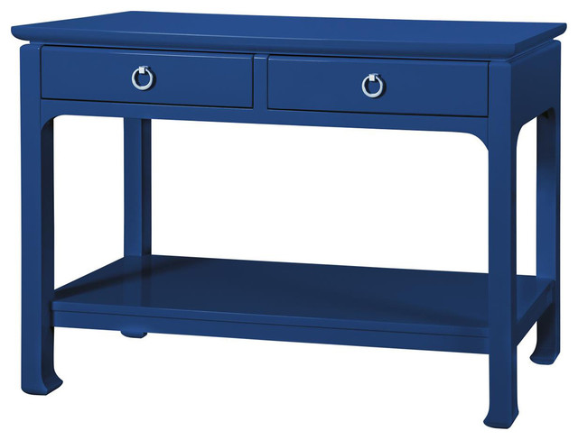 Bungalow 5 Harlow Console In Lacquered Navy Blue