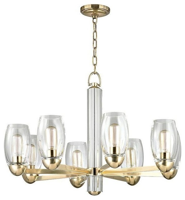 Hudson Valley Pamelia Eight Light Chandelier Aged Brass Contemporary Chandeliers By Lighting