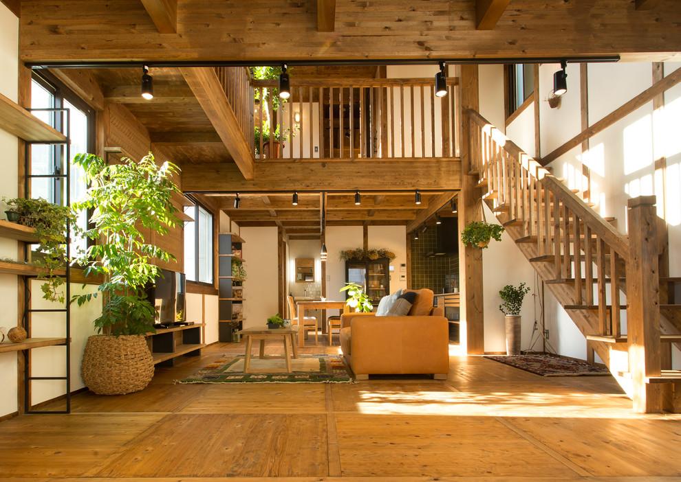 客厅黄色地板砖北欧风格装修图片