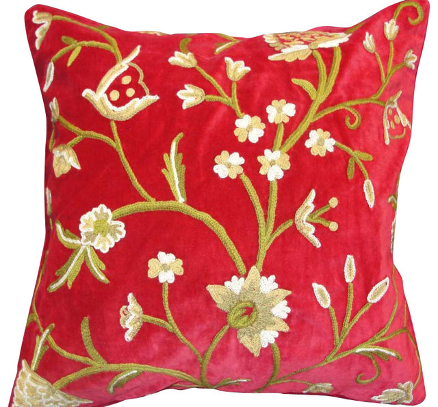 Crewel Pillow Tree of Life Red Cotton Velvet 20x20 Inches - Traditional - Decorative Pillows ...