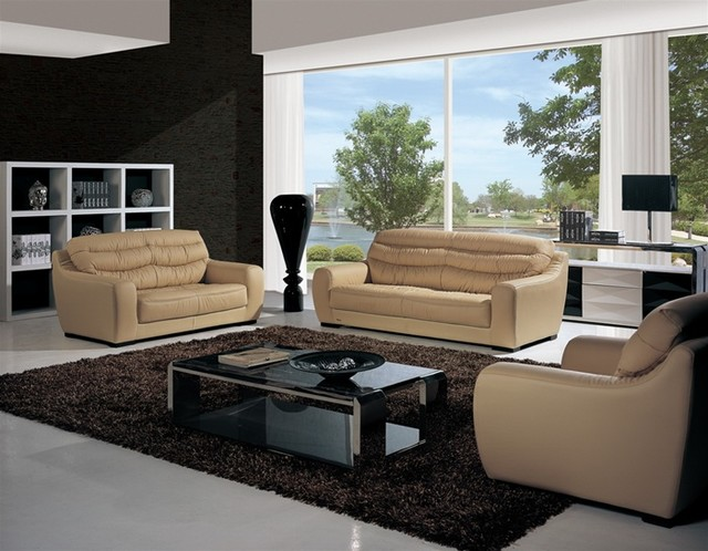 Torren 3 Pieced Leather Sofa Set Modern Living Room Furniture Sets By D
