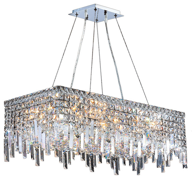 Cascade 16-Light Chrome Finish Crystal 28u0026quot; Rectangle Chandelier - Transitional - Chandeliers ...