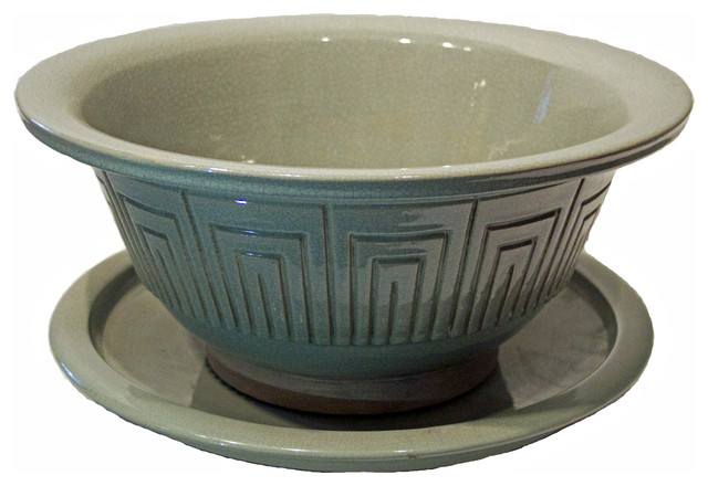 Consigned crackle ware celadon bowl with saucer asian indoor pots and planters by beyond - Indoor plant pots with saucers ...