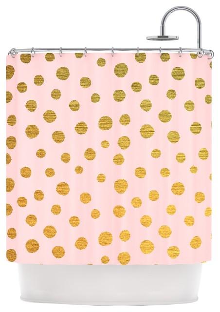 nika martinez golden dots pink blush shower curtain