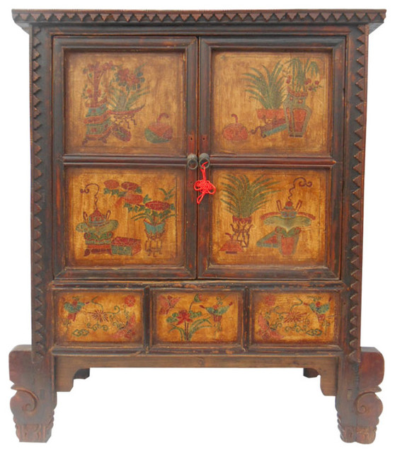 Carved Two Door Tibetan Cabinet - Asian - Accent Chests And Cabinets - by Oriental Furnishings