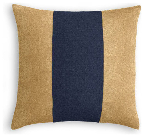 Modern Navy Pillows : Unique, luxurious, classic. Gold and Navy linen pillow. - Modern - Decorative Cushions - other ...