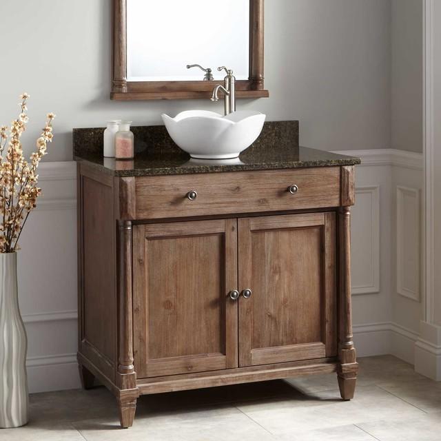36 Mitchusson Vessel Sink Vanity Rustic Brown Rustic Bathroom Van