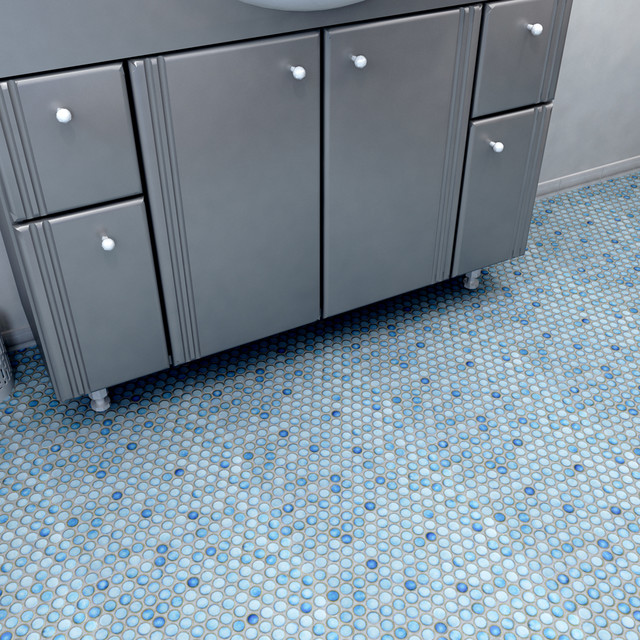 Penny Round Marine 12 In X 12 1 4 In Porcelain Mosaic