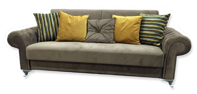 Chesterfield Comfort Sofa Bed Brown Fabric Standard