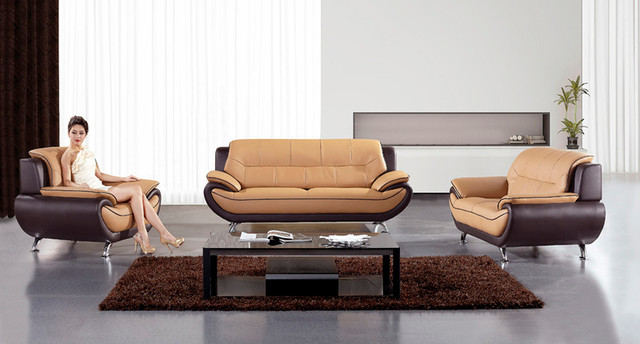 orange leather sofa couch loveseat chair tufted modern