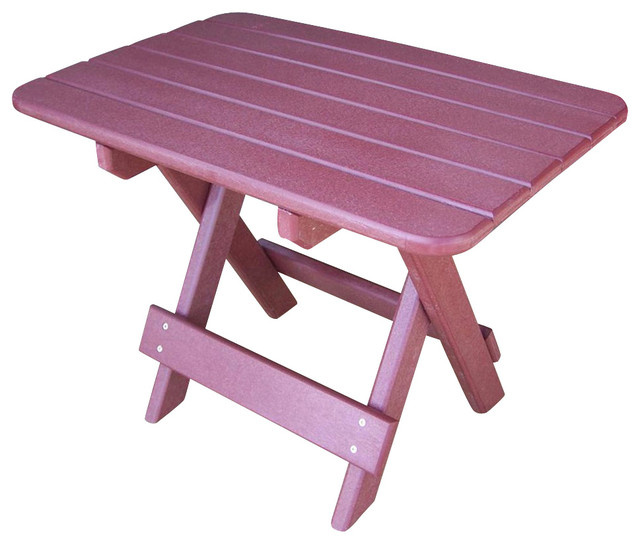 Folding Side Table in Dark Red - Contemporary - Outdoor Side Tables