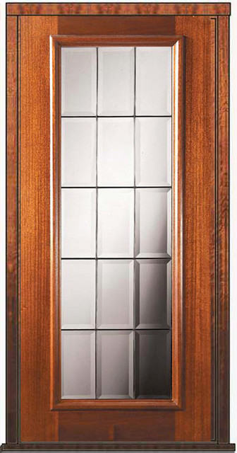 Prehung single door 80 wood mahogany french full lite for Full glass french doors