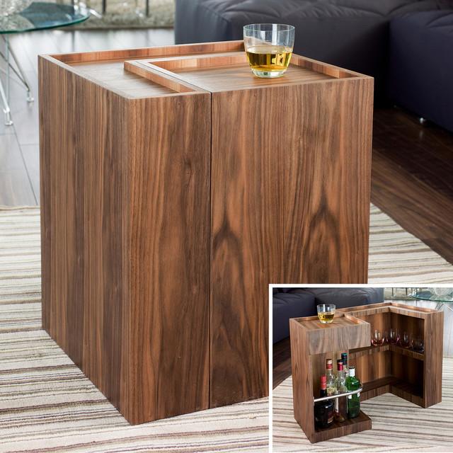 Mini Bar Cabinets: Imbibe Mini Bar Side Table Walnut