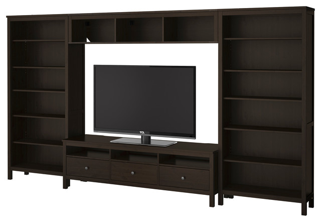hemnes tv storage combination black brown ikea scandinavian entertainment centers and tv. Black Bedroom Furniture Sets. Home Design Ideas