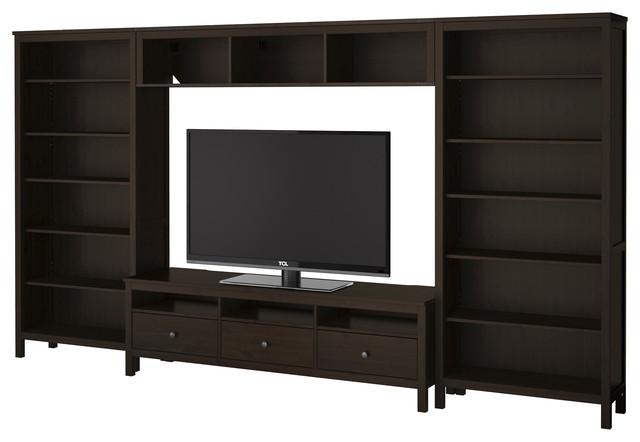 hemnes tv storage combination black brown ikea skandinavisch multimedia m bel tv w nde. Black Bedroom Furniture Sets. Home Design Ideas