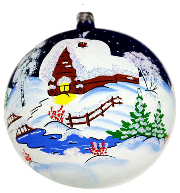 Russian Christmas Traditional Decorations : Russian winter glass hand painted christmas ball ornament