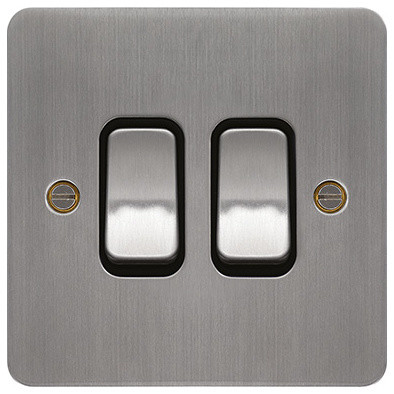 Hager 10ax 2 gang 2 way wall light switch brushed steel for Modern electrical switches and sockets