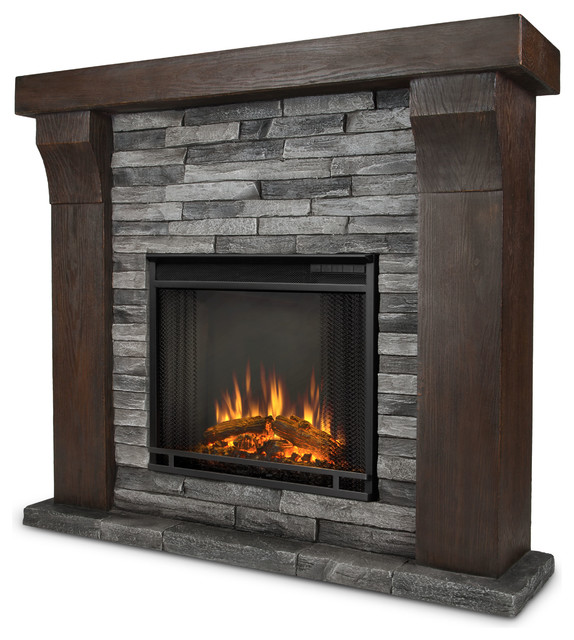 avondale gray ledge stone electric firebox mantel