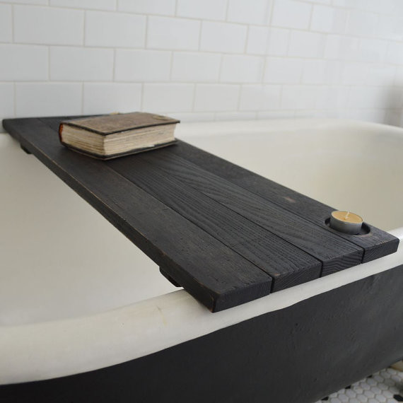 Custom Ebonized Reclaimed Wood Tub Caddy By Peg And Awl