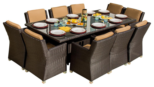 Avery Island 10 Person Resin Wicker Patio Dining Set Contemporary Outdoor