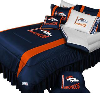 Nfl denver broncos football team 5 piece queen bedding set for Denver broncos bedroom ideas