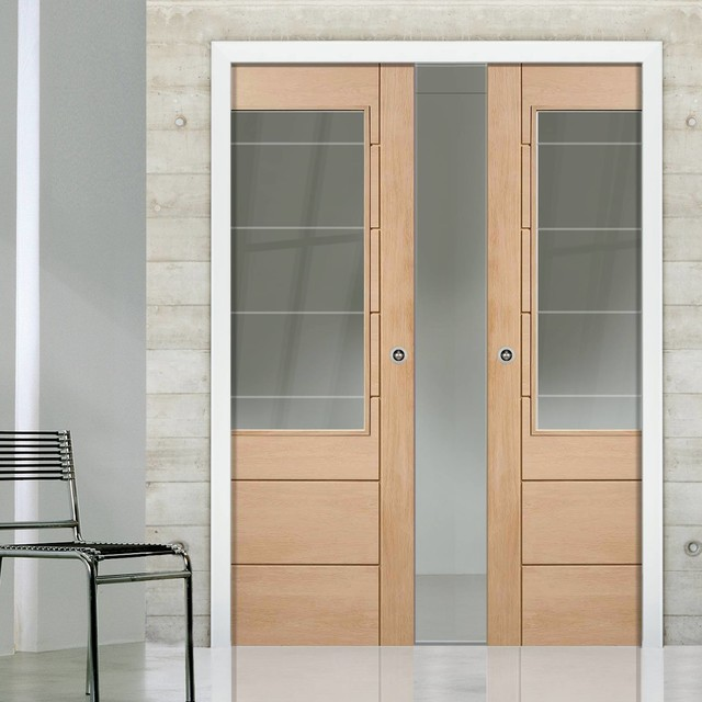 Double pocket palermo oak 2xg door with clear etched safe for Modern glass pocket doors