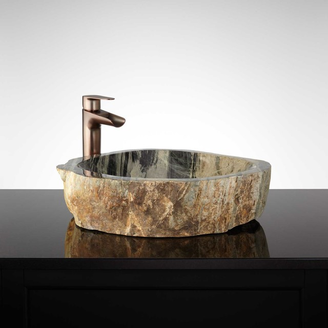 Ballivian Natural Stone Vessel Sink - Traditional - Bathroom Sinks ...