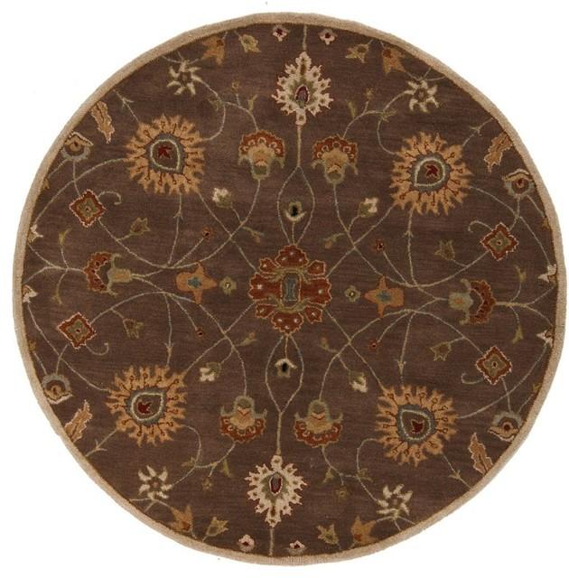 Contemporary caesar round 4 39 round sienna safari tan area for Round contemporary area rugs
