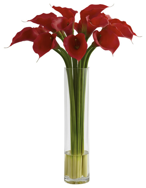 Nearly natural red calla lily with large cylinder vase traditional artificial flower - Great decorative flower vase designs ...