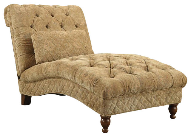 Coaster accent seating golden toned accent chaise in for Accent traditional chaise by coaster